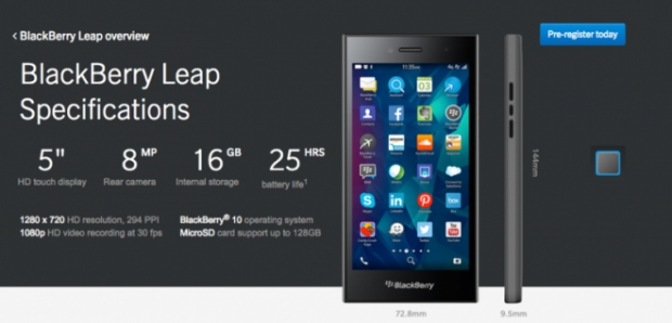 BlackBerry เปิดตัว BlackBerry Leap สมาร์ทโฟนระดับกลาง