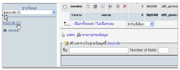 ลักษณะการสร้างตารางใน PHP