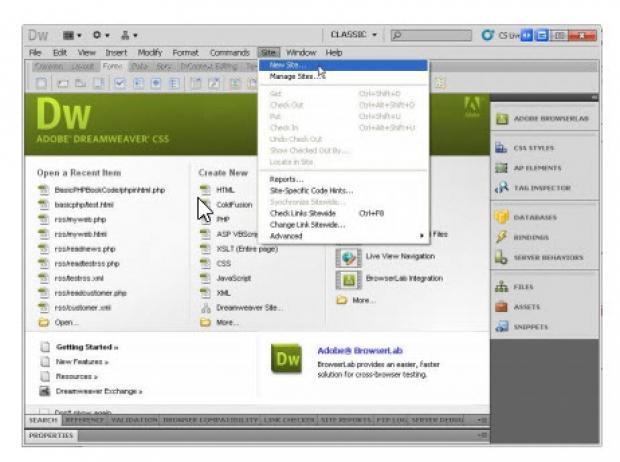 รูปแบบการสร้างไซต์ใน Dreamweaver