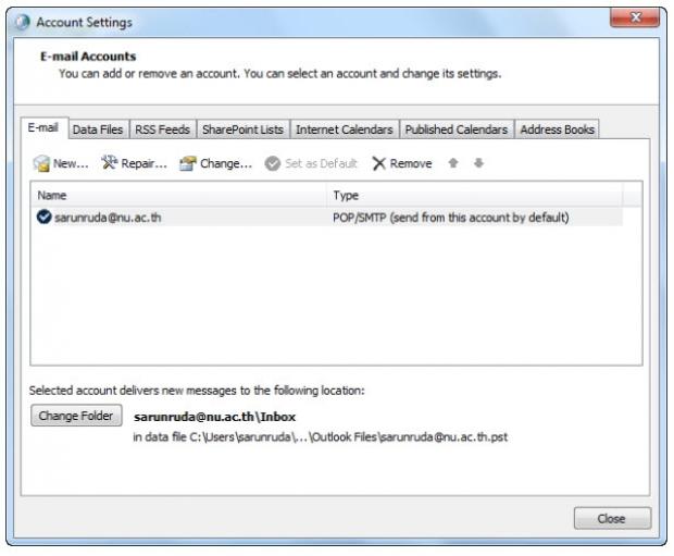 การตั้งค่า Microsoft Outlook 2010 สำหรับ Windows 7 แบบ POP3 Server