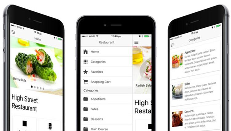 Template Ionic สำหรับแอพร้านอาหาร